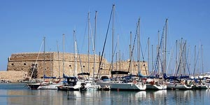 Heraklion port marina with sailing boats