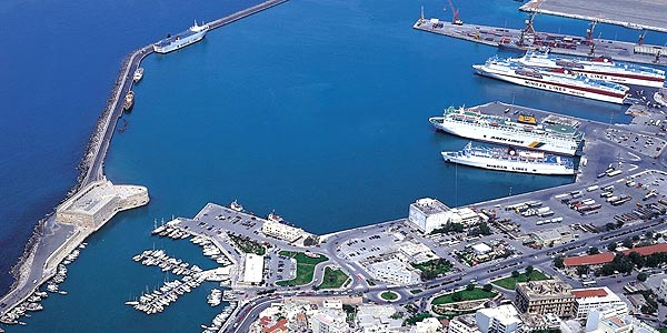 the port of Heraklion Crete