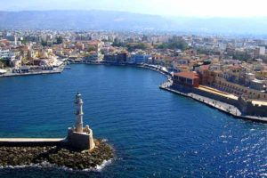 aerial view of the venetian port of chania crete